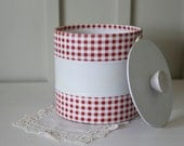 red gingham ice bucket
