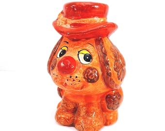 Bright Orange Kitschy Dog Bank Vintage 1970s Dog in Hat Piggy Bank