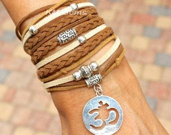 BOHEMIAN Wrap Bracelet - Pick SIZE / COLOR - Faux Suede Leather Chunky Gypsy Triple Wrap Bracelet w/ Silver Accents /  Silver Om - Usa 99