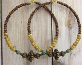Beaded Hoop Earrings, Large hoops, Rustic, Bohemian Hoops, colorful hoops