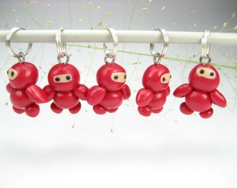 Red Ninja Knitting Stitch Markers 5x knitting accessories ninja charms cute unique gifts for knitters polymer clay funny gift gift for her