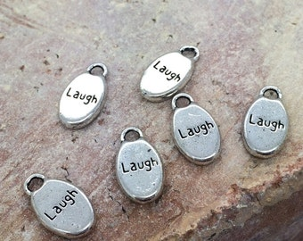 LAUGH charm - stamped word charm- laugh message bead  (24 count)  silver Laugh charm   wholesale bulk  supplies SAVE 50% SALE