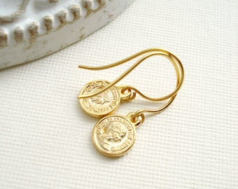 Gold Coin Drop Earrings Modern, Delicate, Minimalist, Everyday Jewelry, Gift For Her Under 25