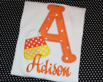 Halloween Candy Corn Initial Personalized tshirt or baby bodysuit