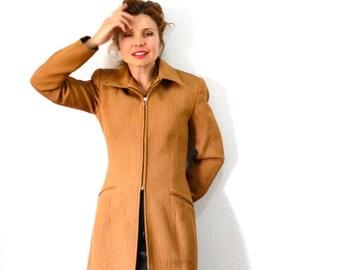 Vintage 60s Coat Jersey Mustard brown 1960s Ron Leal Zipper front Women coat S