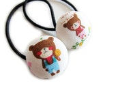Button Ponytail Holders - Sweet Brown Bears