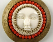 Hand Turned Wood and Beaded Button with Carved Bone Face Focal Piece