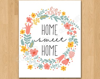 """PRINTABLE PDF Instant Download """"Home Sweet Home"""" Quote Print"""