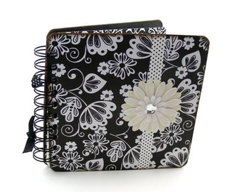 Silhouette Flowers Lined Journal, 6x6 - black, whtie