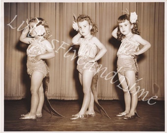 Instant Download - Darling Vintage Photo of Three Young Girls in Dance Costumes
