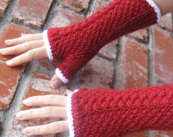 Natalie Fingerless Gloves in Red and White