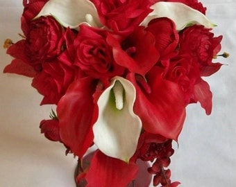 Red Calla Lily Red Roses Ivory Off White Silk Real Touch Cascading Teardrop Bridal Wedding Bouquet