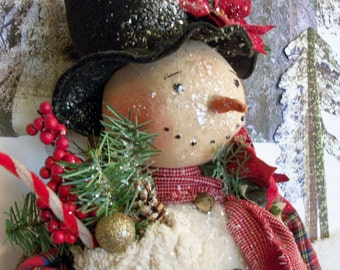 PATTERN for Primitive snowman doll~27 inches tall~Christmas & Winter display~by Dumplinragamuffin