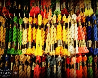 Embroidery Floss Photograph, Craft Room Wall Decor, Sewing Art, Colorful Thread Photo, Textile Art Photography Decor