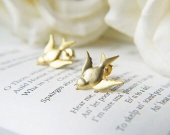 Matte Gold Bird Studs Modern Swallow Lovebird Everyday Earrings