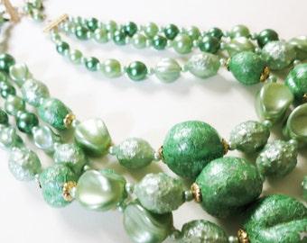 Seafoam Light Green Faux Stone Pearl Pearlescent Triple Strand Necklace