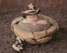 Baby Cowboy Outfit - Baby Cowboy Boots - Newborn Photo Prop - 1st Baby Photography - Birth Photo Prop - Baby cowboy hat - cowboy hat