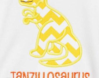 T Rex Shirt, Dinosaur Custom Appliqued Shirt, Choose Your Own Fabric, Monogrammed,  Boys Birthday Shirt, Shirt,Tank,BodysuitRomper,Gift