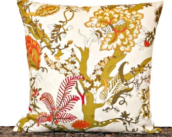 Asian Floral Pillow Cover Cushion Red Orange Mustard Olive Green Decorative Repurposed 18x18