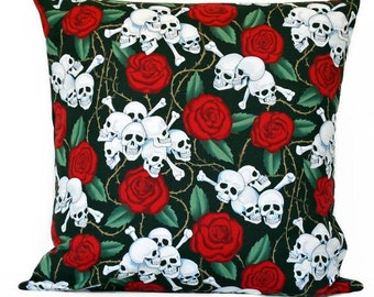 Skulls Halloween Pillow Cover Cushion Gothic Roses Crossbones Thorns Black Red Green Decorative 18x18