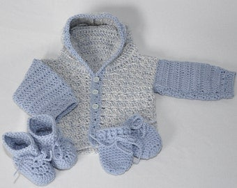 Baby Sweater Set with matching Booties and Mittens