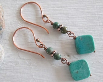 Turquoise and Antiqued Copper Earrings - Bohemian Style, Chakra jewelry