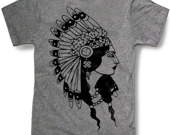 INDIAN PRINCESS HEADDRESS Mens t shirt -- 8 color options -- sizes sm med lg xl xxl skip n whistle