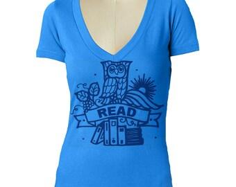 womens OWL V Neck t shirt ---- Womens tri blend fabric tshirt skip n whistle