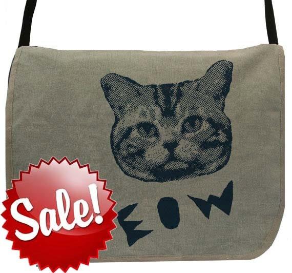 Meow Cat -- Canvas messenger bag -- large field bag -- adjustable strap skip n whistle