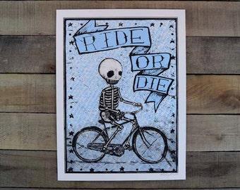 Ride or Die Screen Printed poster BLUE