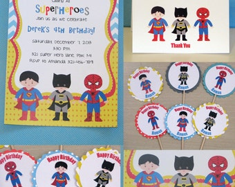 Superhero Birthday Party Package Invitations, Thank You notes, Cupcake Toppers, Favor Tags, Birthday Banner  Superhero Party Chevron Pattern