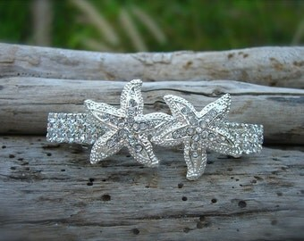 Beach Wedding Starfish Silver Sparkle Hair Accessory, Nautical Wedding, Beach Bride, Starfish Hair, Mermaid Hair Clip, Destination Wedding