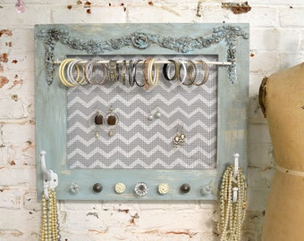 Painted Cottage Chic Shabby Farmhouse Jewelry Organizer HD103