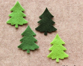 Green Day - Small Christmas Trees - 24 Die Cut Felt Shapes