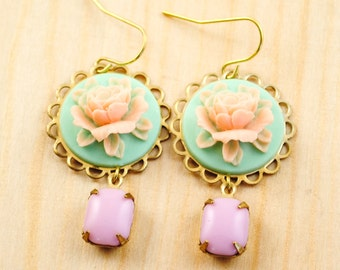 SALE - Cameo Earrings in Peach and Mint with Vintage Pink Jewels - Romantic Rose