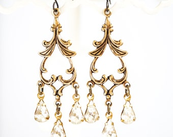 SALE - Victorian Vintage Rhinestone Earrings - Chandelier Earrings, Vintage Jewels