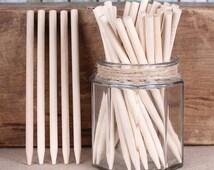 Thick Wooden Candy Apple Sticks, Wooden Lollipop Sticks, Wooden Cake Pop Sticks, Caramel Apple Sticks, Halloween Pop Sticks (50)