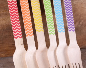 """Wooden Forks, Boys Rainbow Chevron Stamped Forks, Wedding Utensils, Rainbow Party Utensils, Wooden Utensils, Wooden Cutlery (6.25""""-18ct)"""