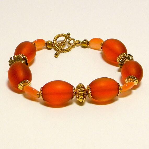 Tangerine Glass Oval Beads & Orange Cats Eyes Beaded Bracelet, Chunky Orange Bracelet, Tangerine Oval Beaded Bracelet, Orange Bracelet