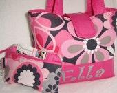 Personalize Michael Miller Floral Pink Little Girls Handbag