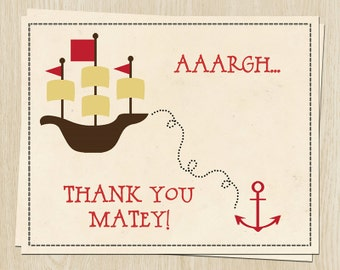Pirate Ship Birthday Thank You Cards, Anchor, Red, Set of 24 Printed Notes with Envelopes, FREE Ship, PIRBY, Pirate Party Birthday - Boys