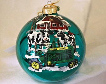 HAND-PAINTED ORNAMENT - Cows and Tractor
