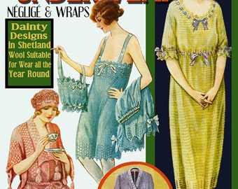 Leach's 6D #15 c. 1920 - Vintage Knitting & Crochet Patterns for Underwear, Negligee and Wraps (PDF Ebook DIgital Download)