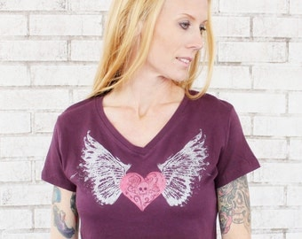Winged Heart T Shirt, Ladies Vneck Tee, Plum Purple, Wings, Skull And Crossbones, Punk, Tshirt, Women, Teens, Juniors