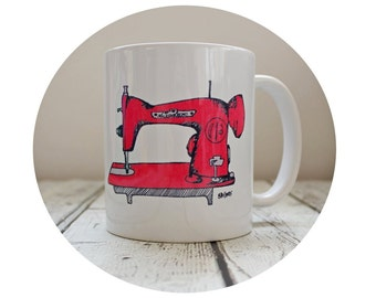 Sewing Machine Mug, 11 oz Coffee Cup, Sublimated Ceramic Mug, Tea, Seamstress Gift, Red, Sew Crafty, Retro Mamma, Gift for Her