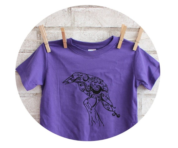 Raven T Shirt, Toddler Shirt Screen-printed With A Blackbird, Hand Printed, Bright Dark Purple Tshirt, Graphic Tee, Ringspun Combed Cotton