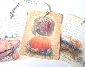 Vintage Thanksgiving - Gift Tags - Set of 6 - Artistic Autumn  - Turkey Tags - Autumn Fields - Fall Leaves - Corn Shocks -  Pumpkin Tags