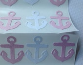 20 pc White and Pink Anchor Stickers  New Baby  Baby Shower