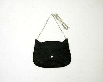 Cat bag Black Leather  Cat clutch purse, crazycatlady bag MADE TO ORDER