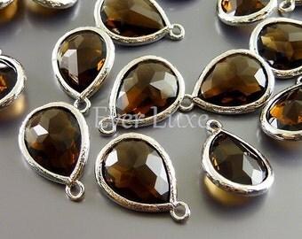 2 smoky quartz teardrop glass stone charms for jewelry / jewellery designs, bridal jewelry 5073R-SQ (bright silver, smoky quartz, 2 pieces)